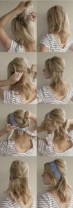 A hairstyle with ribbon