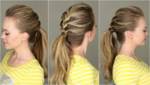 Add a braid to a simple bun or ponytail to make it look more unique 3
