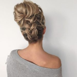 Add a braid to a simple bun or ponytail to make it look more unique