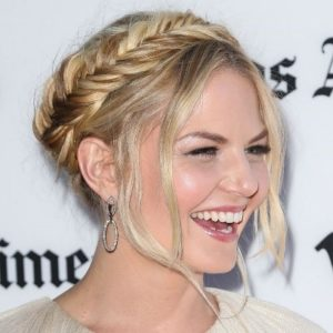 For the second look, a full updo braided crown