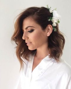 Hairstyle #1 Wavy shoulder length hair with flowers