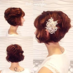 Hairstyle #3 Curly bob hairdo with side twist
