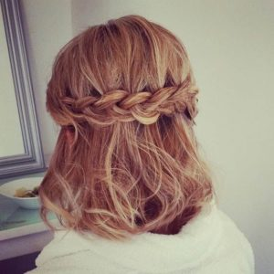 How to do the first look, half up crown braid