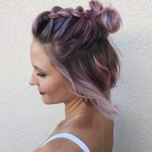 Jazz your half up do by adding little braids towards the back of your head