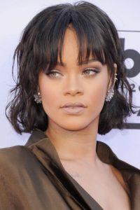 Rihanna square face type bangs