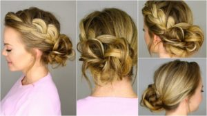 Side braid with a curly bun