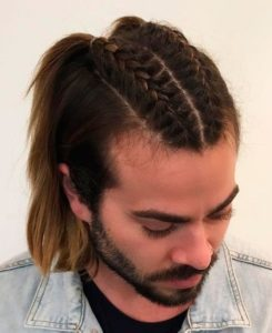 Top braid ending in a ponytail