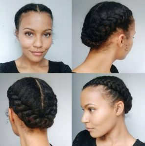 Updo hairstyles for dark skinned women with thick hair 4