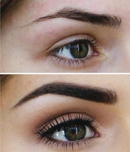 filled in dark eyebrows