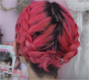 finished braid crown with bangs