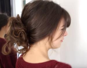 messy bun with cute bangs
