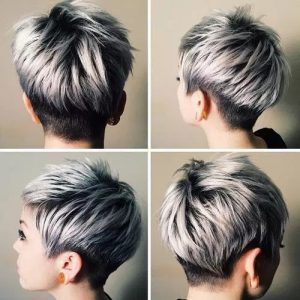 #8 Lavender Pixie Cut with Highlights
