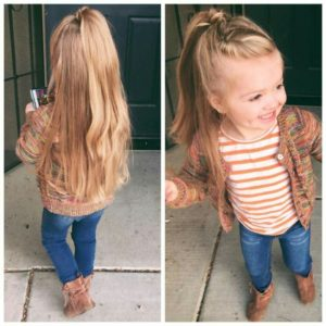 Braided half up half down hairstyle girl