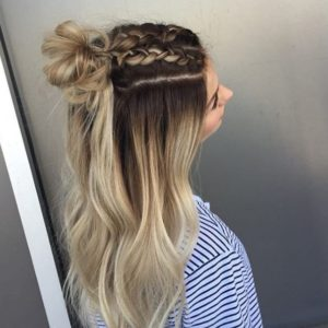 Classic French braid half up half down hairstyles