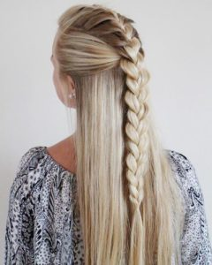 Classic French braid half up half down hairstyles 2