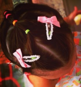 Colorful and easy multi ponytail