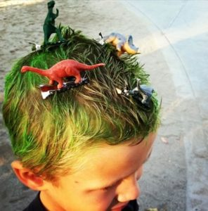 Crazy hairstyles for boys green hair with dinos