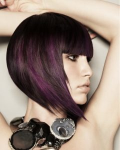 Crazy hairstyles for short hair bob purple