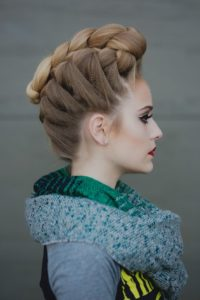 Half up braided pompadour 3