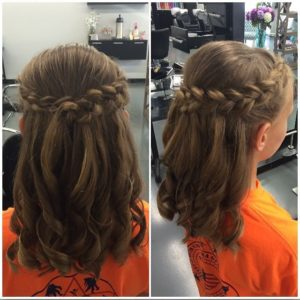 Half up half down hairstyles with a braided crown