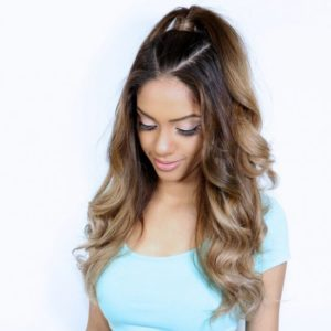 Half up half down hairstyles with ponytails