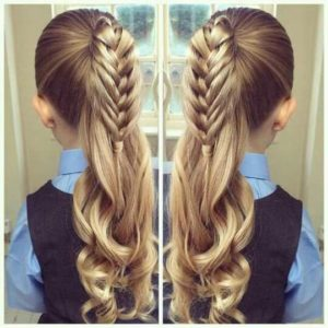 High ponytail with braid 2