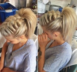 Loose large braid with a high ponytail