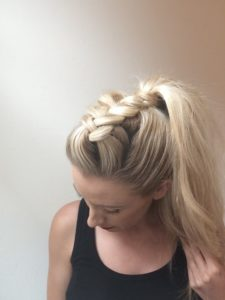 Loose large braid with a high ponytail 2