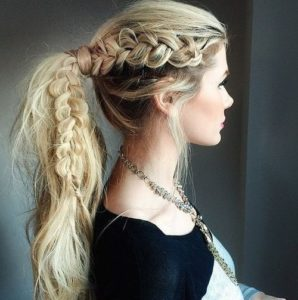 Messy ponytail with side braid