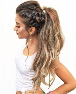 Messy ponytail with side braid 2