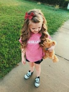 Simple half up half down hairstyles with a bow little girl