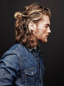 Simple half up half down man bun