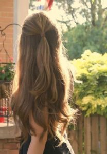 Simple ponytail half up half down hairstyle back
