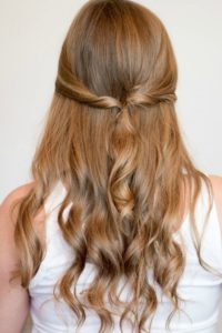 Twisted ponytail half up half down hairstyles