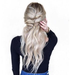 Twisted ponytail half up half down hairstyles 2