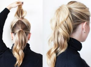 Two ponytails to make your hair seem longer