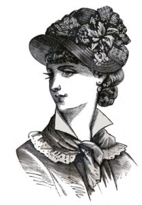 Victorian hairstyles with hats b&w