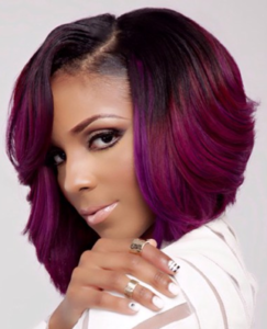 Weave hairstyles for women and girls purple