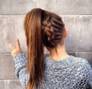 braid in a ponytail