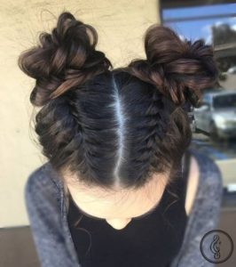 double bun with braids brunette