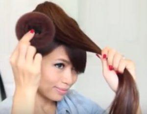 Bun hairstyles for long hair step 3