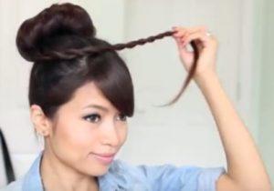 Bun hairstyles for long hair step 5